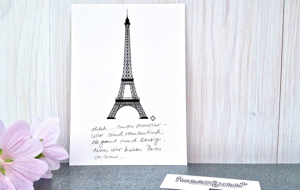 """An alle Freunde der gepflegten Romantik – meine Postkarte """"ohhh… mon amour…"""" gibt es jetzt auch in schwarzweiß. Oh, la, la…"""