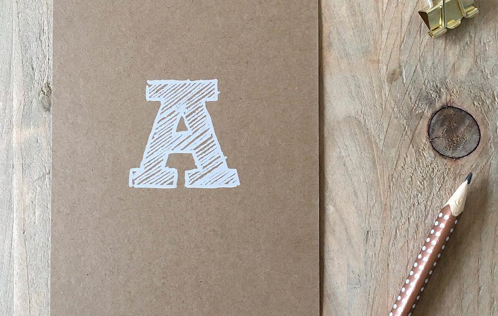 Die Karte mit dem Buchstaben