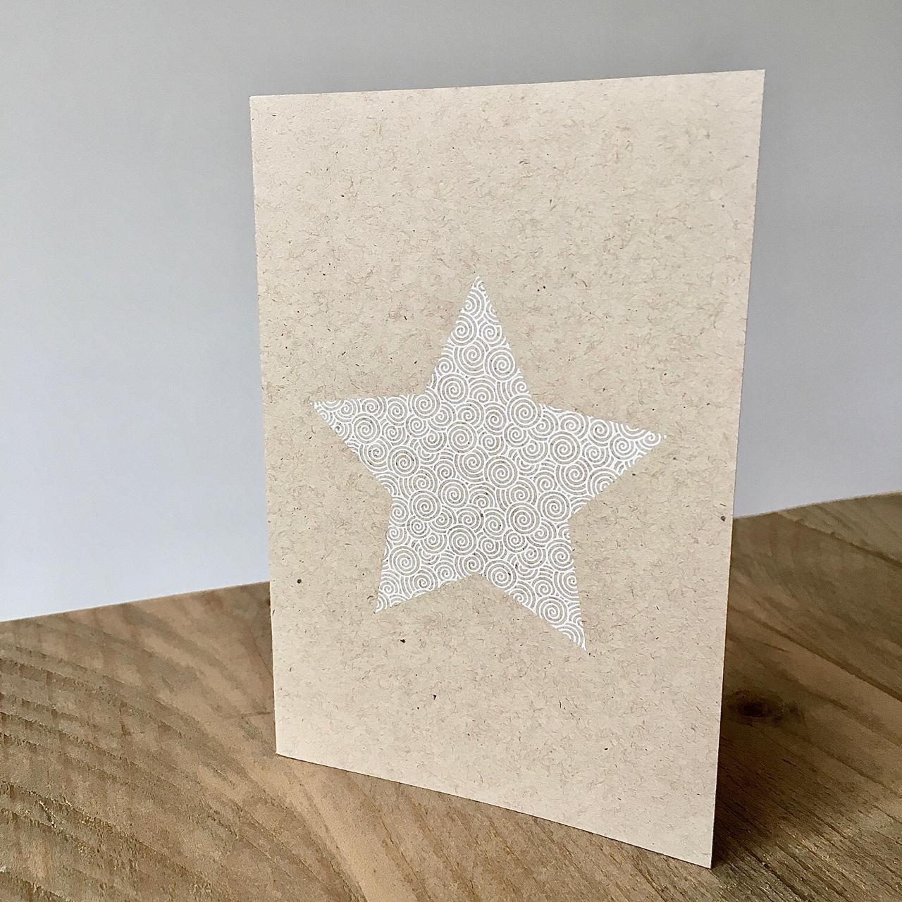 Stern weiß mit Muster als Weihnachtskarte